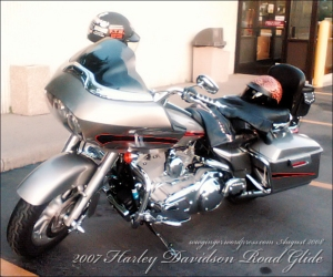 Our Harley at the Club House, aka Dunkin Donuts